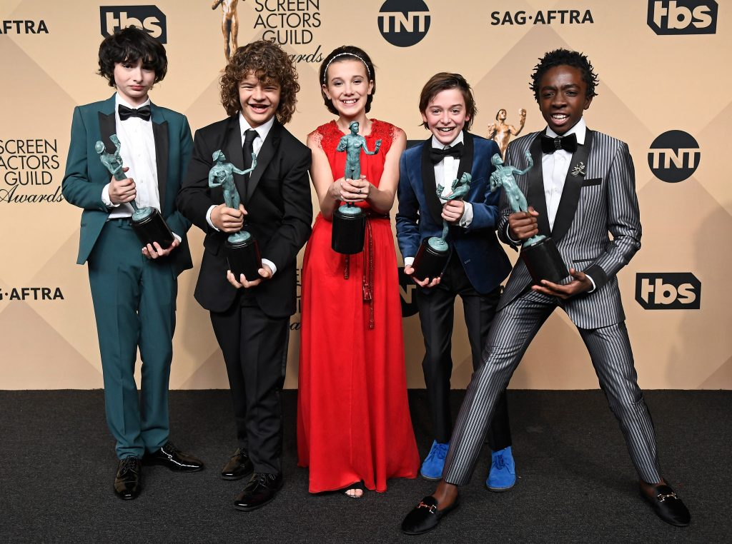 Finn Wolfhard, Gaten Matarazzo, Millie Bobby Brown, Noah Schnapp, and Caleb McLaughlin at the 2017 Screen Actors Guild Awards in Los Angeles.