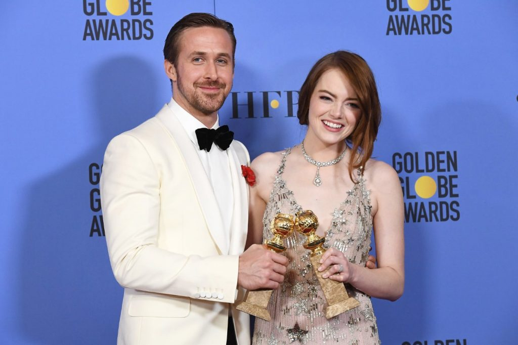 """La La Land"" stars Ryan Gosling and Emma Stone at the 2017 Golden Globe Awards"