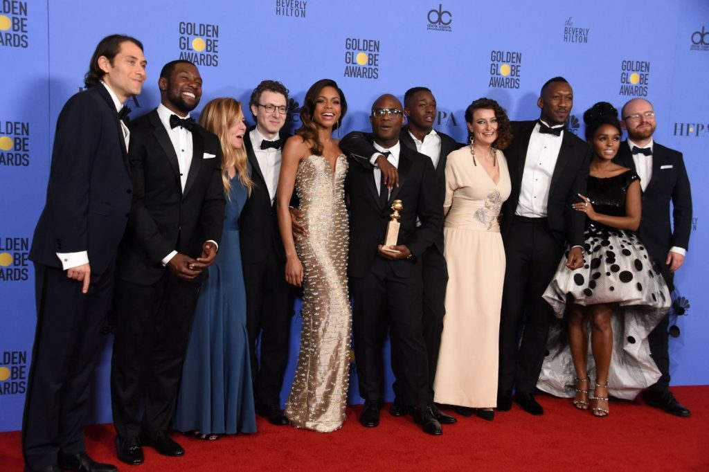 """Moonlight"" team at the 2017 Golden Globe Awards"