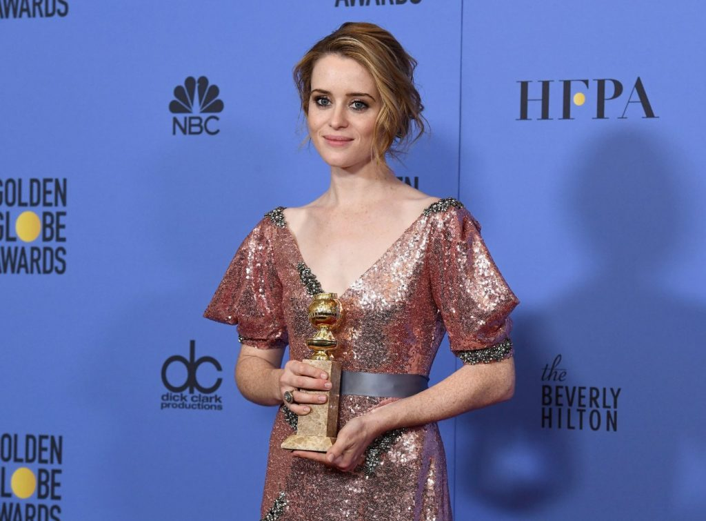 """The Crown"" star Claire Foy at the 74th Annual Golden Globe Awards at the Beverly Hilton Hotel in Beverly Hills, California, on January 8, 2017."