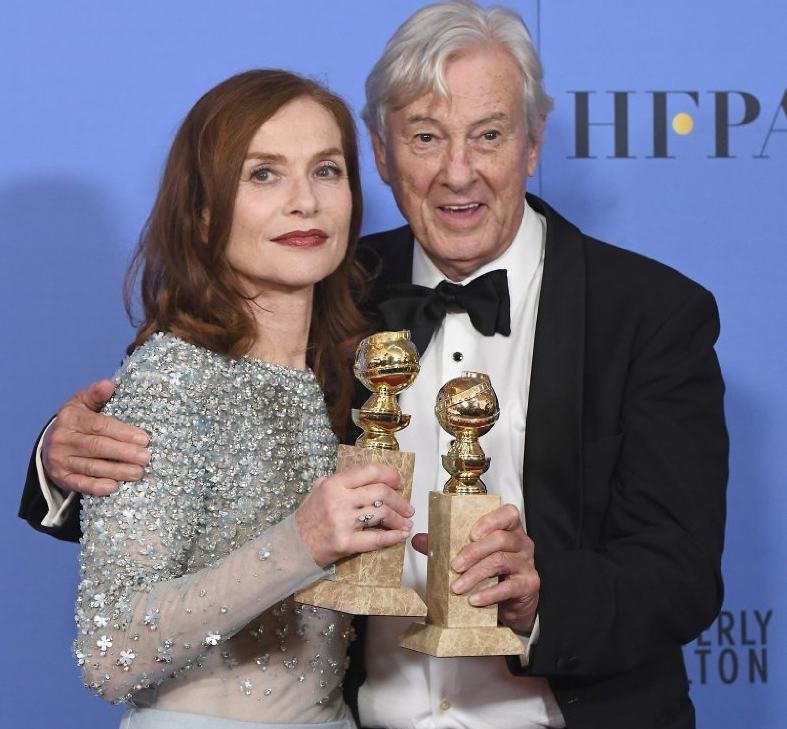 Isabelle Huppert and Paul Verhoeven at the 2017 Golden Globe Awards