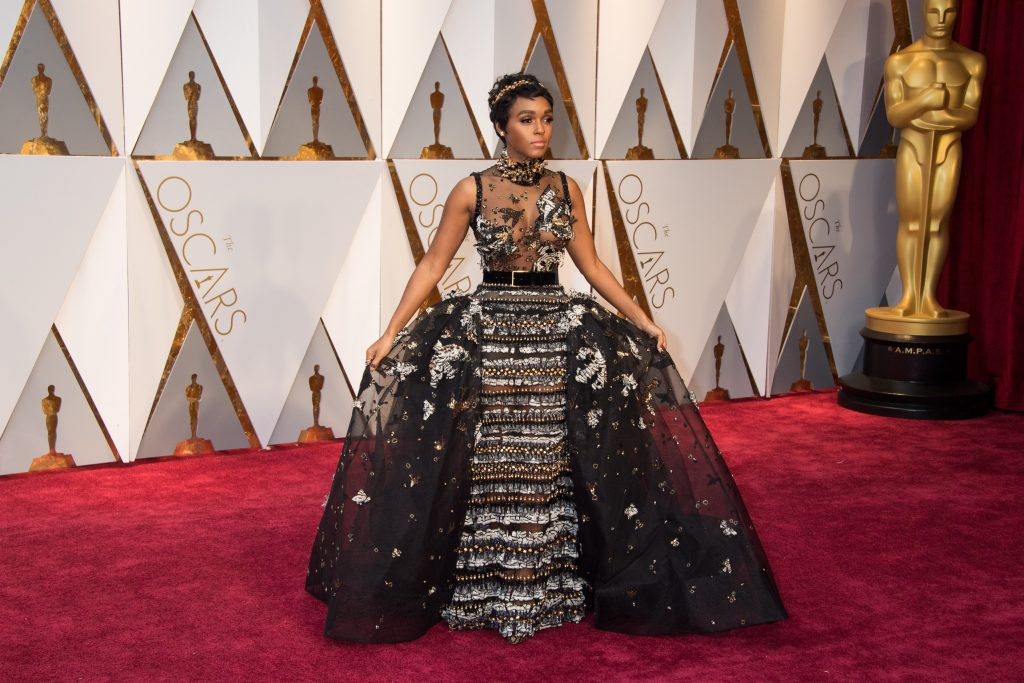 Janelle Monae arrives at 2017 Academy Awards in Los Angeles.