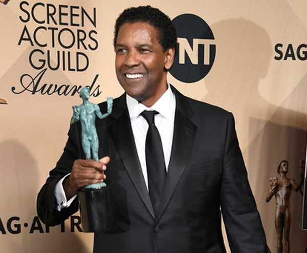 Denzel Washington at the 29th Annual Screen Actors Guild Awards at the Shrine Auditorium in Los Angeles on January 29, 2017.
