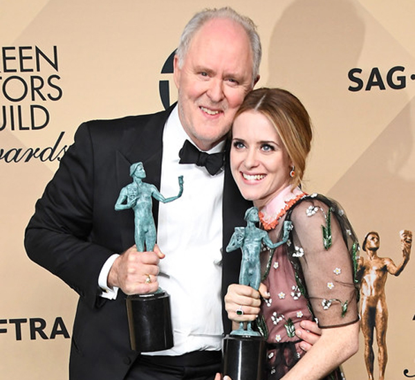 John Lithgow and Claire Foy at the 29th Annual Screen Actors Guild Awards at the Shrine Auditorium in Los Angeles on January 29, 2017.