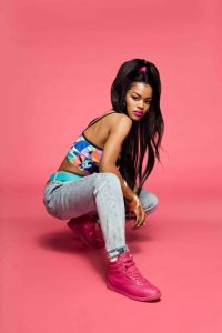 """Teyana Taylor in Reebok's """"Free Your Style"""" campaign for Classic Freestyle Hi shoes. ."""