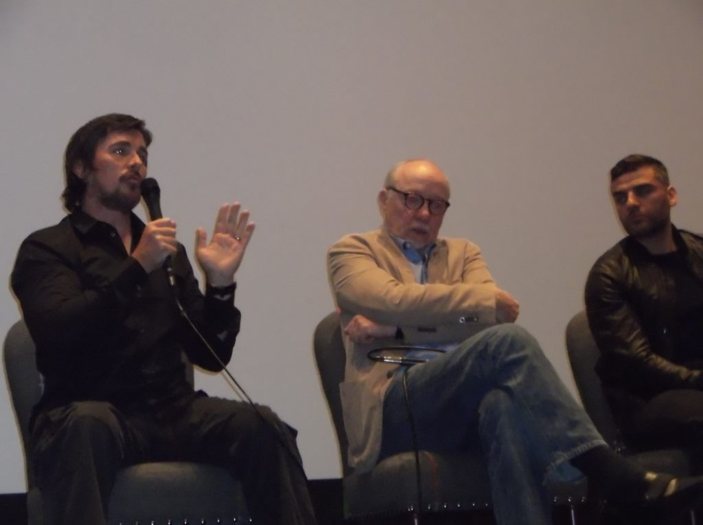"""Christian Bale, Terry George and Oscar Isaac at the New York City press conference for """"The Promise"""""""