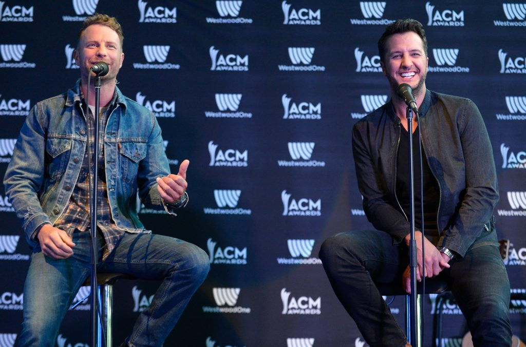 Dierks Bentley and Luke Bryan at the 52nd ACM Awards press conference at T-Mobile Arena in Las Vegas on March 31, 2017