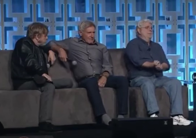 Mark Hamill, Harrison Ford and George Lucas at the 12th edition of Star Wars Celebration at the Orange County Convention Center in Orlando, Florida, on April 14, 2017.