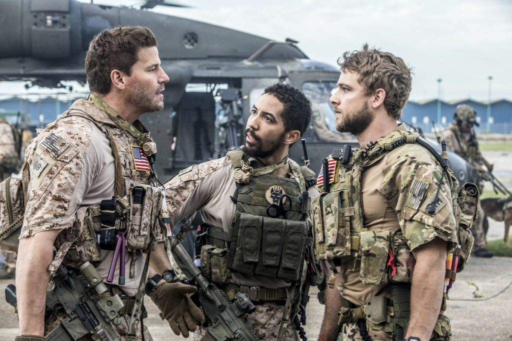David Boreanaz, Neil Brown Jr. and Max Theriot in SEAL Team (Photo by Skip Bolen/CBS)