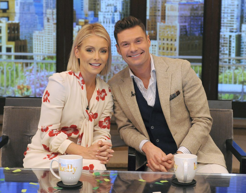 """Kelly Ripa and Ryan Seacrest, co-hosts of """"Live with Kelly and Ryan"""""""