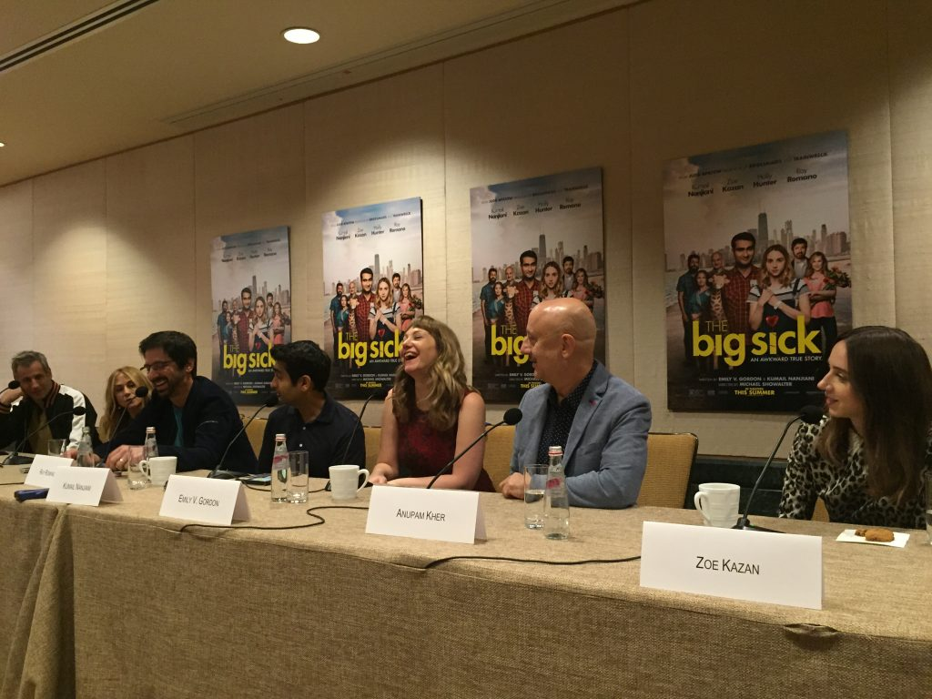 "Barry Mendel, Holly Hunter, Ray Romano, Kumail Nanjiani, Emily Gordon, Anupam Kher and Zoe Kazan at the New York City press conference for ""The Big Sick"""