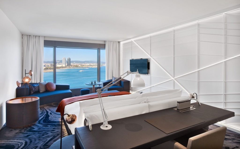 A renovated guest room at W Barcelona