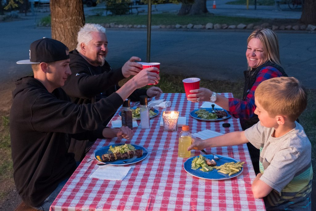 "Hunter, Guy, Lori and Ryder Fieri in "" Guy's Family Road Trip"" (Photo courtesy of Food Network)"