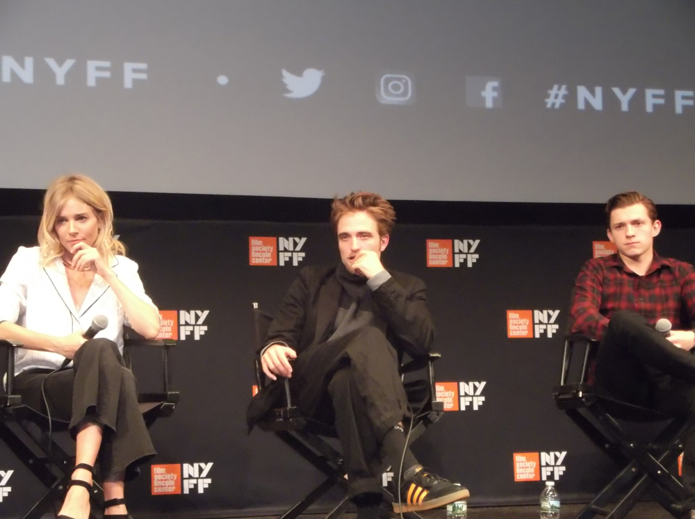 """Sienna Miller, Robert Pattinson and Tom Holland at the 2016 New York Film Festival press conference for """"The Lost City of Z"""""""