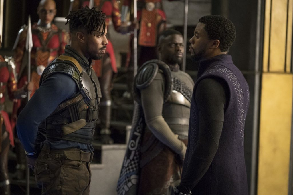 "Michael B. Jordan, Daniel Kaluuya and Chadwick Boseman in ""Black Panther"" (Photo courtesy of Disney/Marvel Studios)"