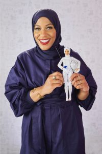 Ibtihaj Muhammad and her Barbie doll (Photo courtesy of Mattel)