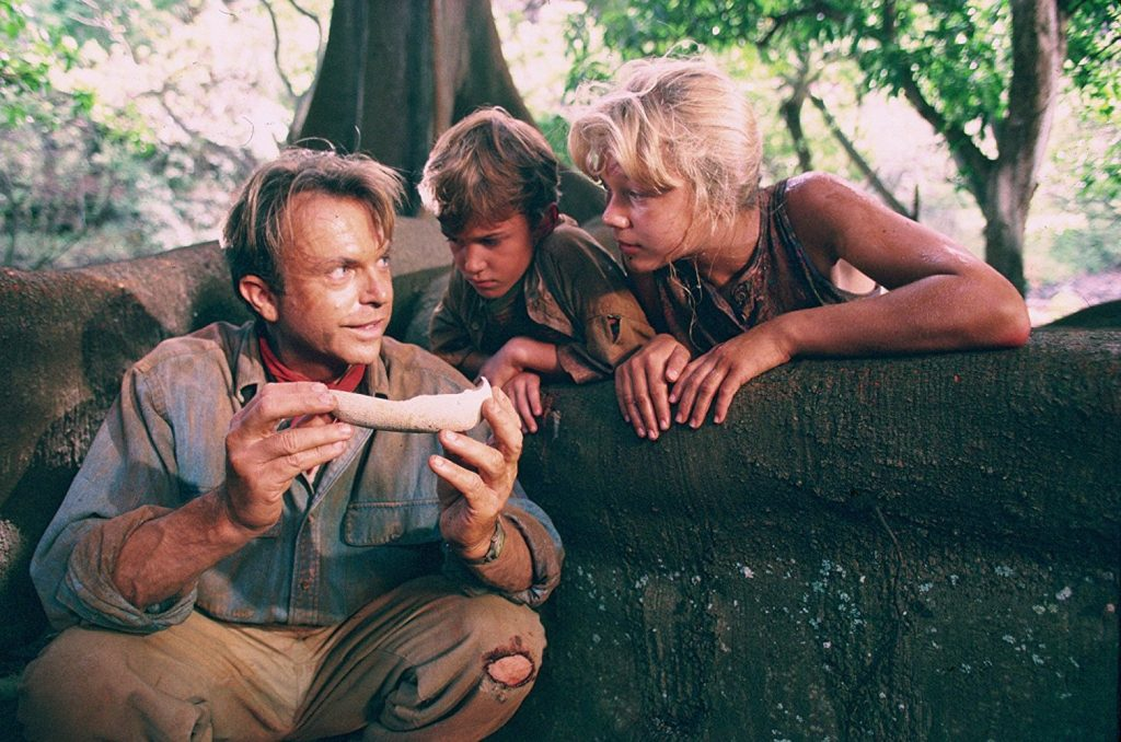 "Sam Neill, Joseph Mazzello and Ariana Richards in ""Jurassic Park"" (Photo courtesy of Universal Pictures)"
